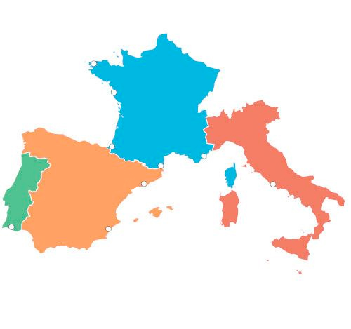 Map Of Spain Portugal And Italy.Europarcs